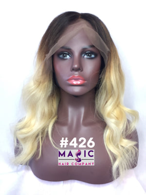 16 straight blonde ombre natural root human hair glueless wig