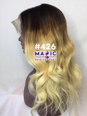 Load image into Gallery viewer, 16 straight glueless front lace wig custom color ombre