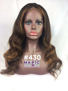 16 straight glueless front lace wig custom color