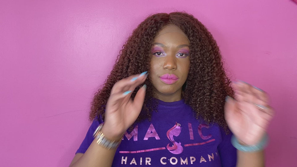 Load and play video in Gallery viewer, 18 kinky curly front lace #4 curly glueless wig human hair