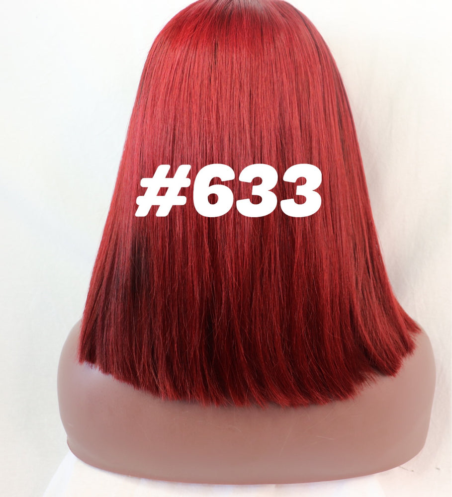 "Straight , 12"", front lace, Custom colored Red BOB"