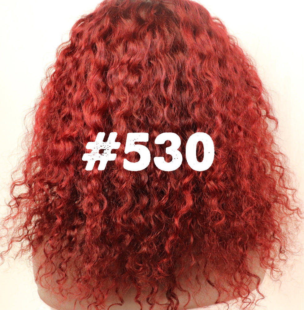"Curly, 12"",Full lace, Custom colored  Red"