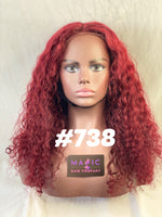 "Curly18"", Front lace, deep red color"