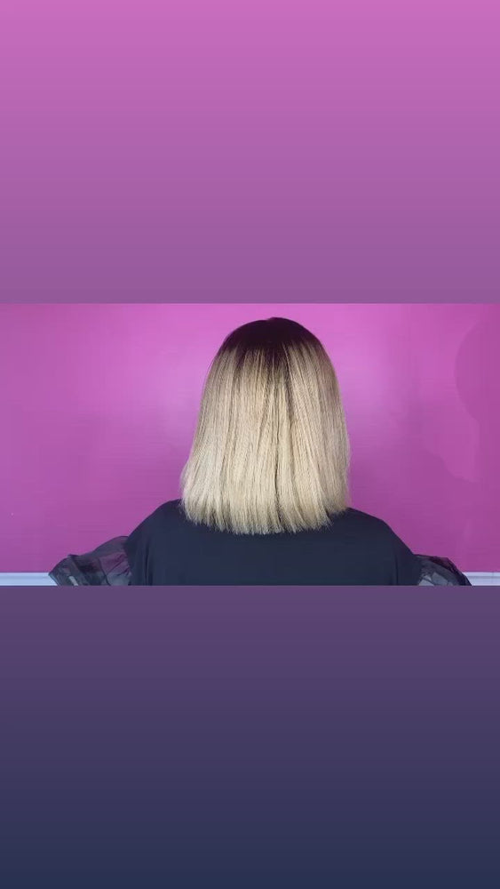 "Load and play video in Gallery viewer, 10"", Silky Straight, Blonde / Ash Blonde blunt cut, front lace"