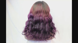 "Load and play video in Gallery viewer, 12"", front lace, Custom colored   Purple Ombre"