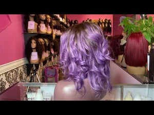 "Load and play video in Gallery viewer, Straight, 12"", full lace, Custom colored lavender"
