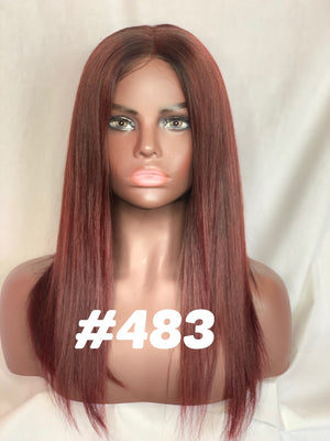 "14"", Staight, front lace, Dark red"