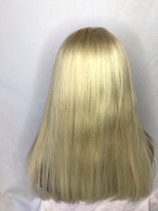 "14"", Straight, front lace, medium blonde"