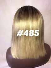 Load image into Gallery viewer, 10 blonde bob ash root straight front lace human hair glueless wig