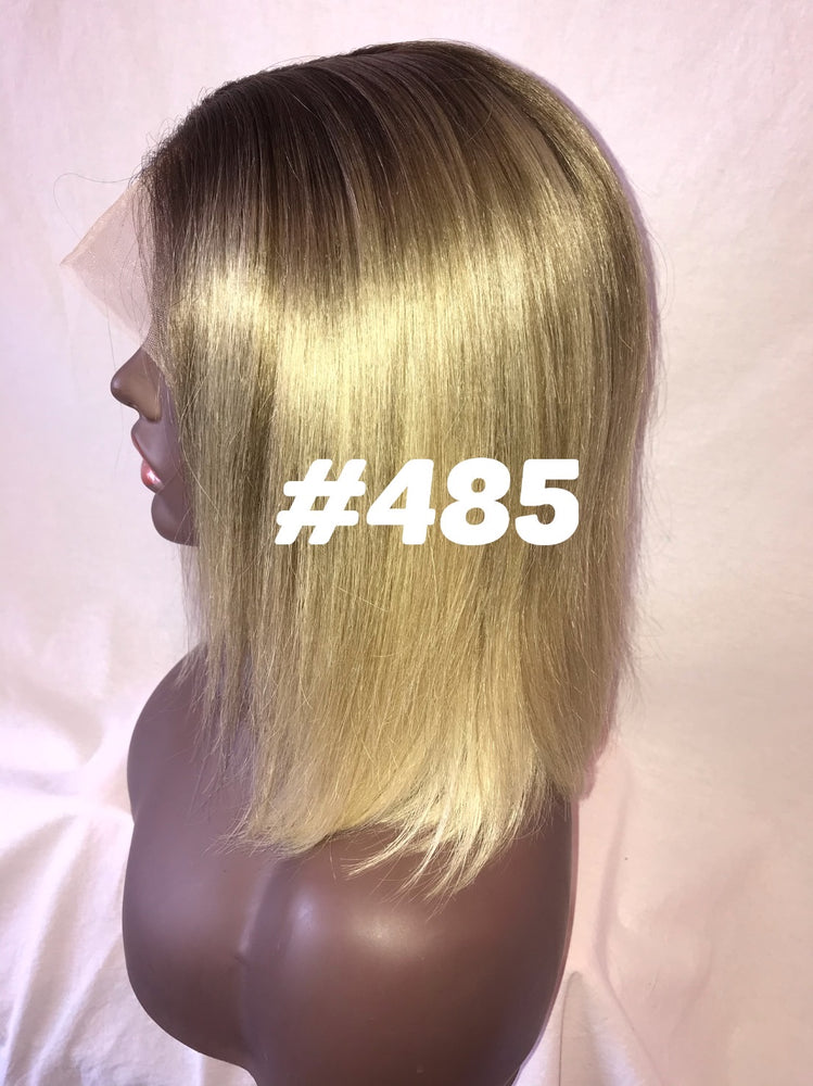 10 blonde bob ash root straight front lace human hair glueless wig