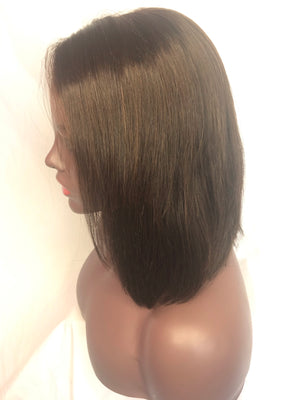 "Straight, 10"", front lace, #4 Brown color"