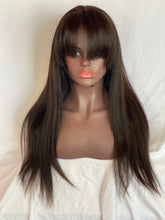 bangs 360 lace silky straight ib natural human hair glueless wig