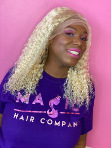 "Deep body wave, 14"", front lace, 613 Blonde"