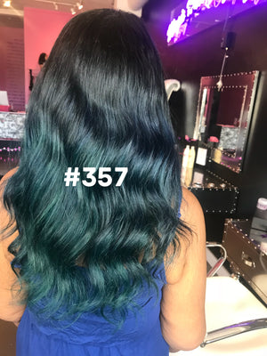 "16"", Silky Straight, Ombre, Blue and Teal"