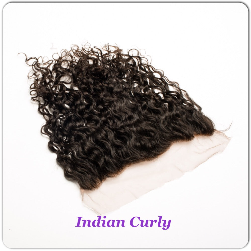 14 human hair indian curly frontal closure