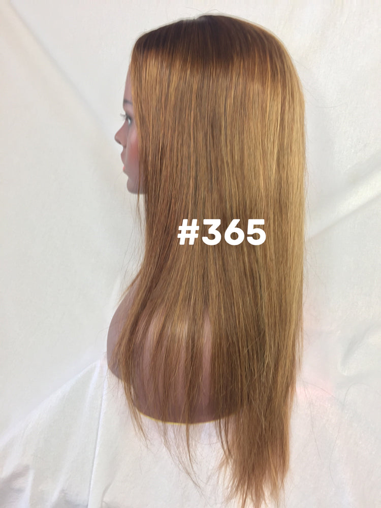 "Load image into Gallery viewer, 16"", Silky Straight, Custom Med. Ash Ombre, Front Lace"