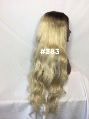 "26"", Silky Straight, Blonde with Ash Medium Brown Root, Full Lace"