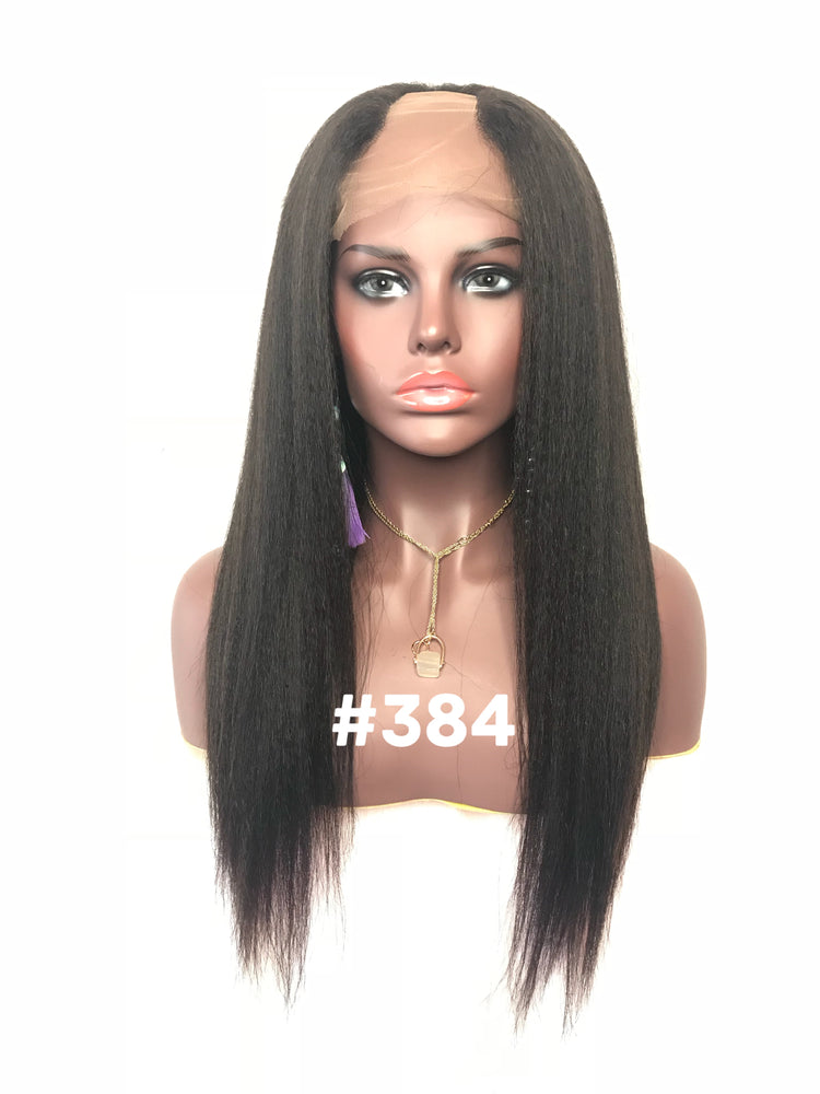 "18"". Kinky Straight, Full Lace, U-Part"