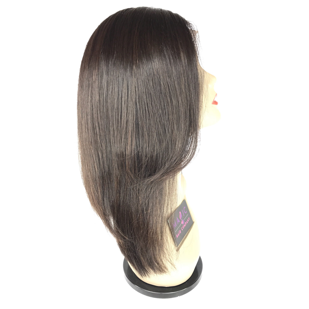 "14""  Front lace ,Silky straight, Side Part,side layers"