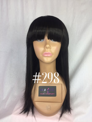 "16"", Silky Straight, bangs, full lace"