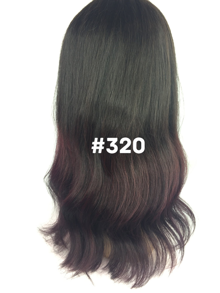 "16"", Silky Straight, Ombre, Dark Burgundy, Front Lace"
