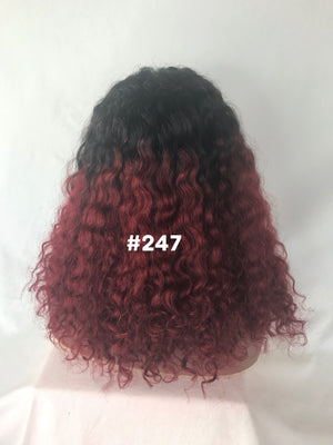 "16"", Curly, Red ombre, Front Lace"
