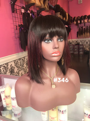 "10"", Silky Straight, Dark Burgundy, Bangs, Front Lace"