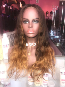 "16"", Body Wave, Ash Brown, Ombre, Full Lace"