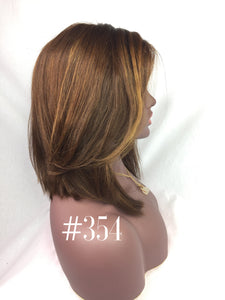 "12"", Silky Straight, Medium Brown, Ash Blonde, Front Lace"