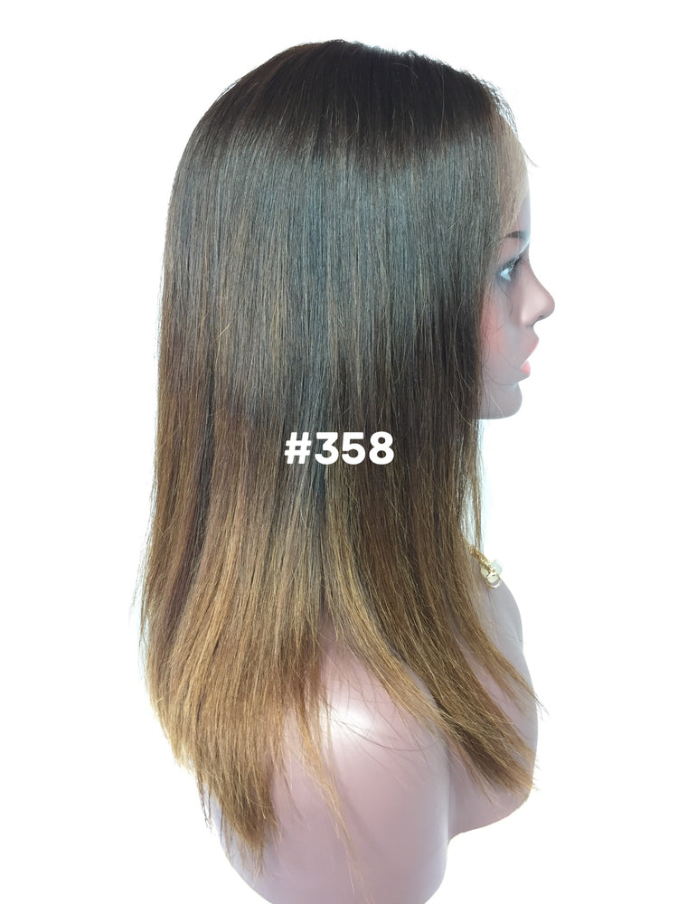 "14"", Silky Straight, Custom Brown Ombre, Front Lace"
