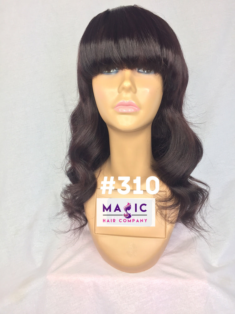"Load image into Gallery viewer, 16"", Silky Straight, Dark Burgundy, Bangs, Full Lace"