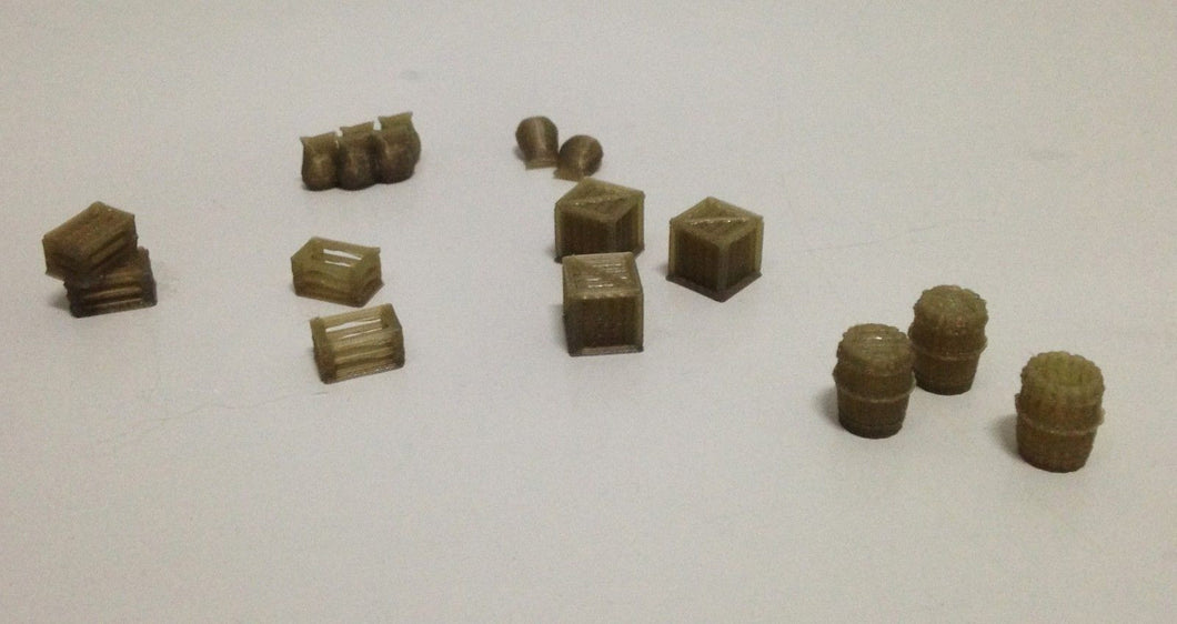Barrel Crate Box Sack Accessories HO OO Scale  Outland Models Railroad Scenery