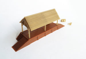 Wood Style Loading Dock w Shed N Scale 1:160 Outland Models Train Railway Layout