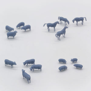 Outland Models Model Railroad Horse Sheep Cow Pig Farm Animal Set N Scale 1:150