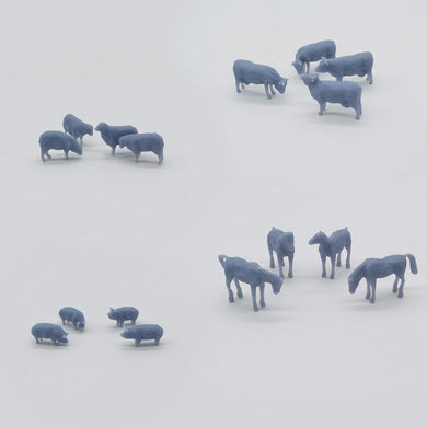 Outland Models Model Railroad Horse Sheep Cow Pig Farm Animal Set HO Scale 1:87