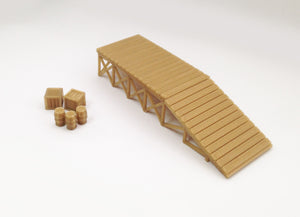 Wooden Style Platform Loading Dock w Goods HO Scale Outland Models Train Railway
