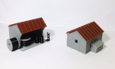 Trackside House Equipment Shed Set HO Scale Outland Models Train Railway Layout