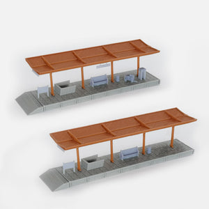 Train Station Passenger Platform with Accessories (Full-Covered) 1:160 N Scale Outland Models Railway Scenery