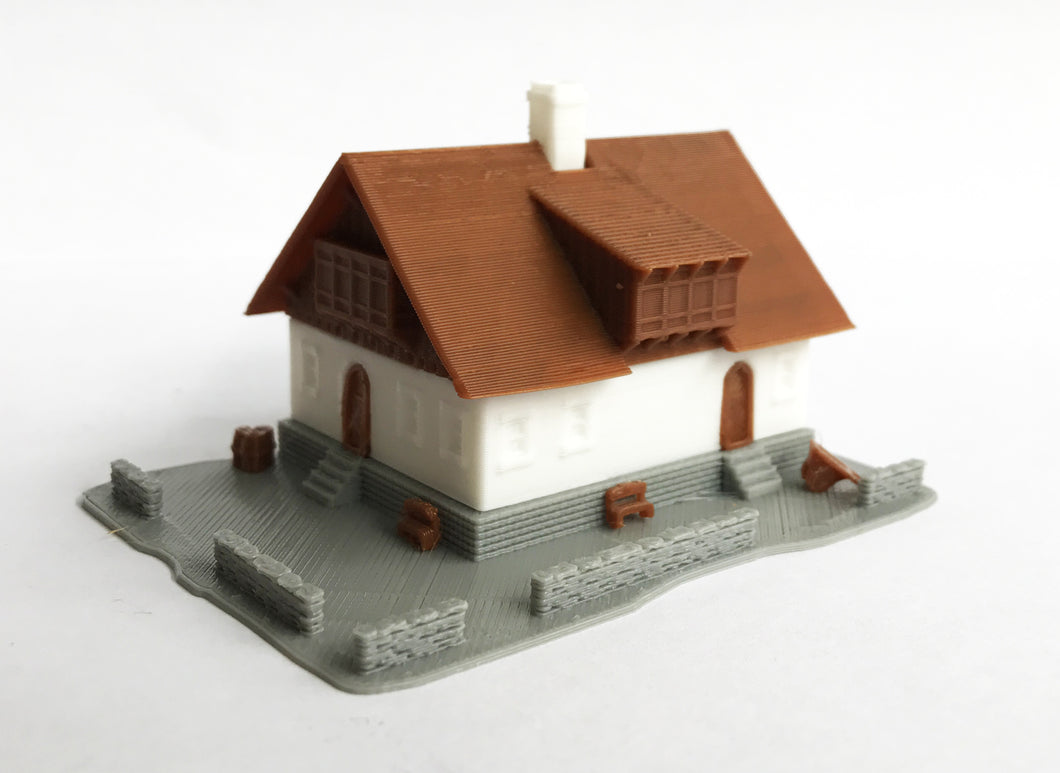 Alpine Mountain Style Farm House Z Scale 1:220 Outland Models Train Layout