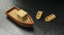Charger l'image dans la galerie, Large Fishing Boat w 2 Small Boats HO Scale 1:87 Outland Models Railroad Scenery