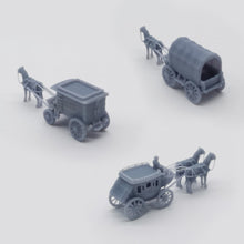 Load image into Gallery viewer, Old West Carriage / Wagon Set 1:220 Z Scale Outland Models Scenery Vehicle