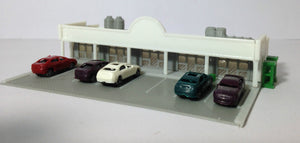 Shopping Centre / Mall w Parking Lot & Cars Z Scale Outland Models Train Railway