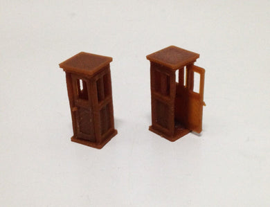 Classic Wood Style Telephone Phone Box Booth x2 HO Scale Outland Models Railway