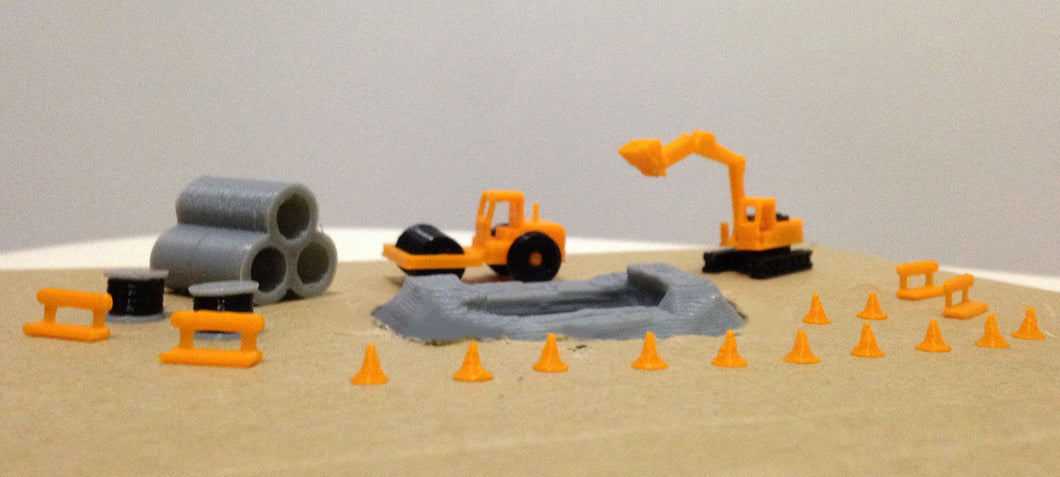 Road Pipe Work Site Accessories and Vehicles Set Z Scale Outland Models Railway