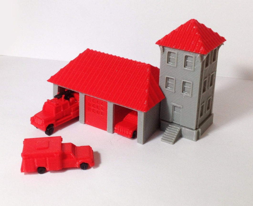 Country Fire Station with 3 Fire Trucks N Scale Outland Models Train Railway
