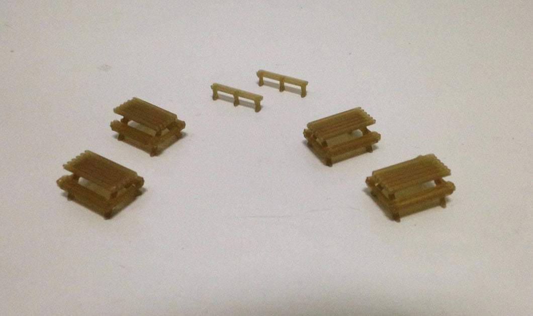 Park / Garden Picnic Table x4 and Bench x2 Set HO Scale  Outland Models Railroad