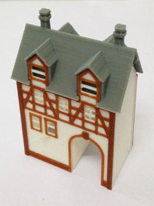 Half Timbered House (with Passage) N Scale Outland Models Train Railway Layout