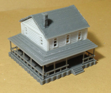 Country 2-Story House White N Scale 1:160 Outland Models Train Railway Layout