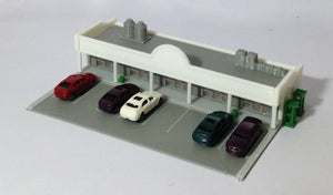 Shopping Centre / Mall w Parking Lot & Cars N Scale Outland Models Train Railway