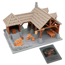 Load image into Gallery viewer, War of Tyrant Series Medieval Blacksmith Shop & Figure Set 28mm